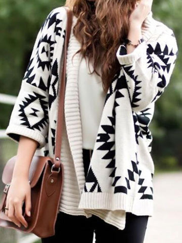 Fashion Solid Color Knit Sweater Cardigans Tops WHITE FREE SIZE