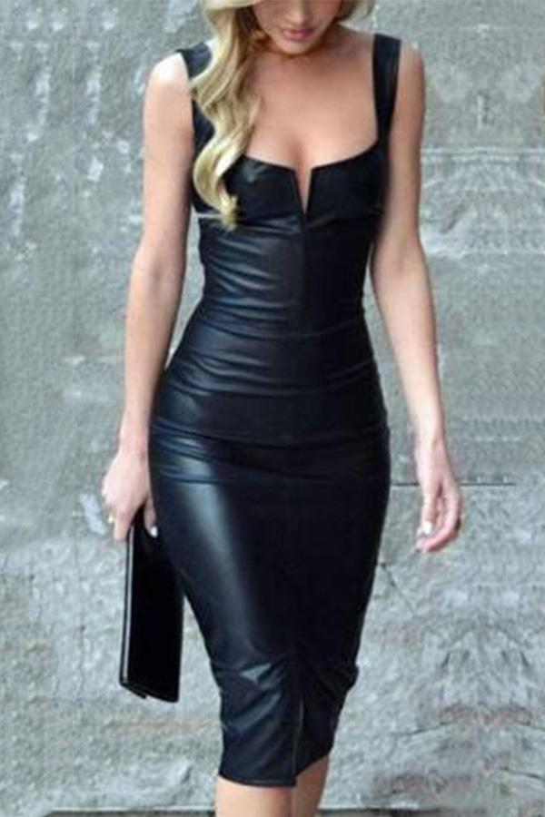 Elegant Black Sleeveless PU Bodycon Dress black s