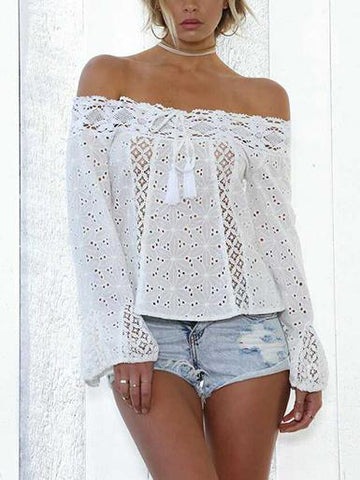 Lace Off Shoulder Flared Sleeves Cover-Ups Tops WHITE XL