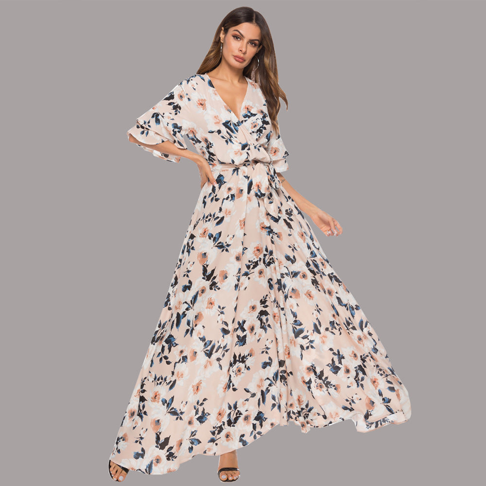 eaf956a5e56 Sexy Short Sleeves Floral Print Vacation Maxi Dress – Joygos