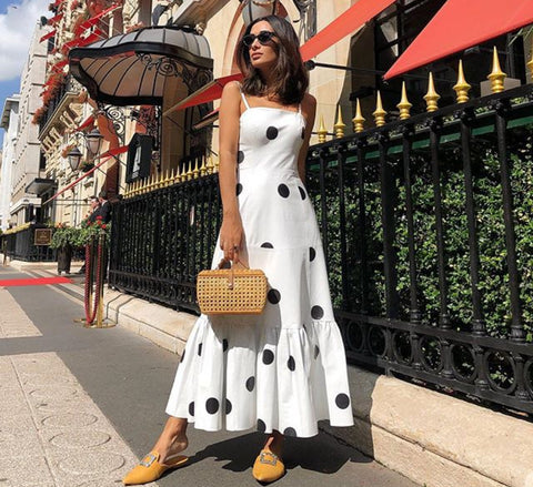 Image of Sexy V Neck Polka Dot Printed Maxi Dress