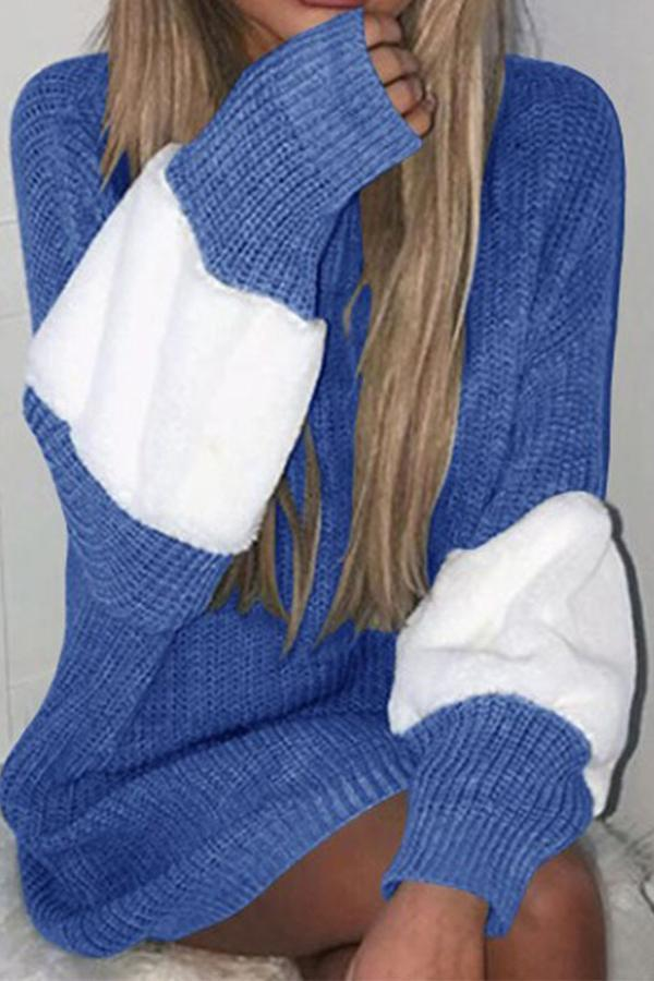 Contrast Loose Mid-Length Sweater blue one size