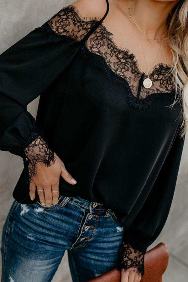 Spaghetti Straps Lace Patchwork Long Sleeve Blouses Black s