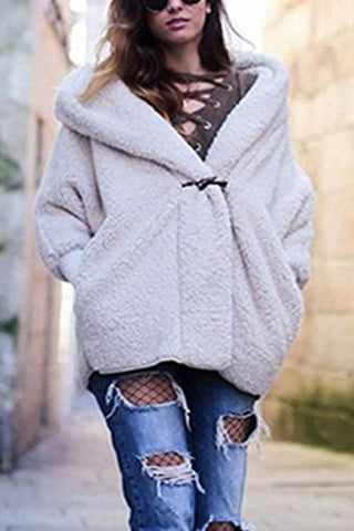 Image of Double-Layer Cashmere Comfortable Warm Hooded Loose Jacket white m