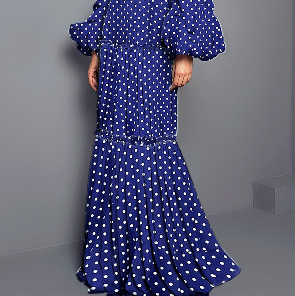 Sexy Polka Dot Split Joint Maxi Dress green 3xl