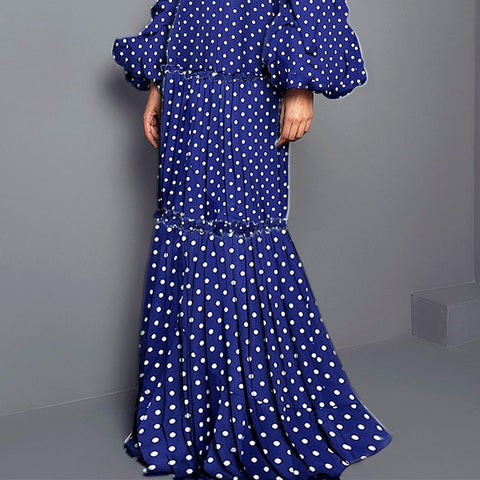Image of Sexy Polka Dot Split Joint Maxi Dress green 3xl