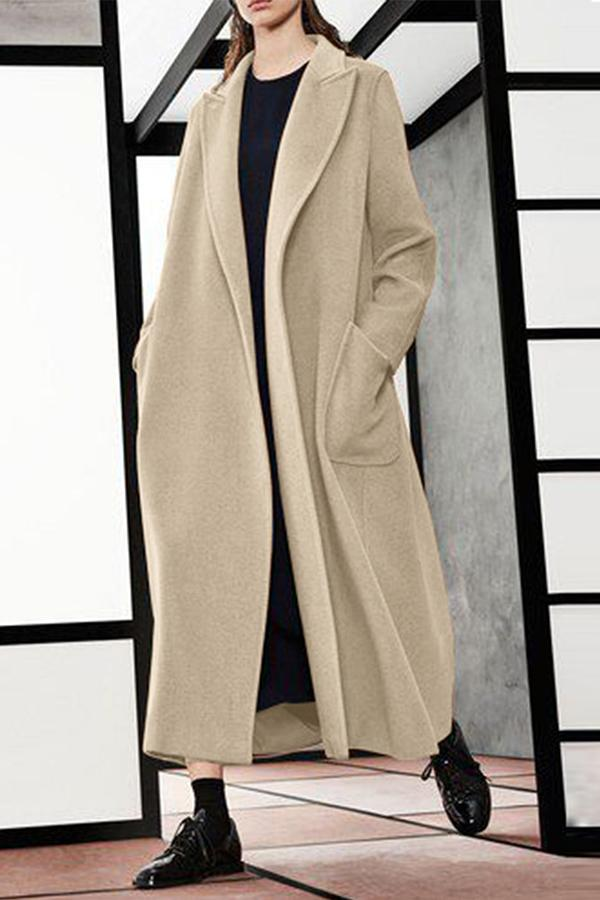Fashion Korean Style Wide Lapel Long Sleeves Oversize Coat Same As Photo xs