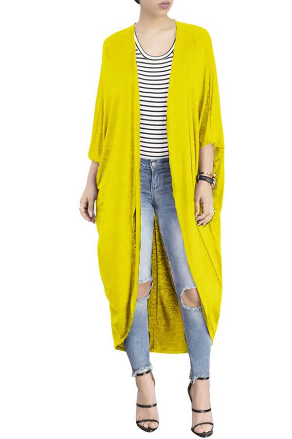 Fashion Pure Colour Irregular Bat Sleeve Cardigan Yellow s