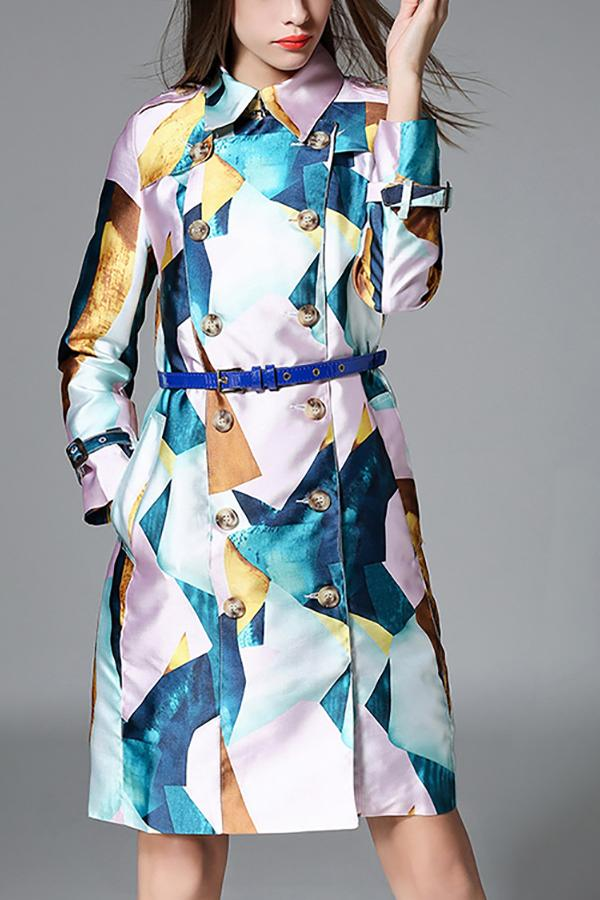 Fashion Printed Colour Turndown Collar Long Sleeve Coat Same As Photo s