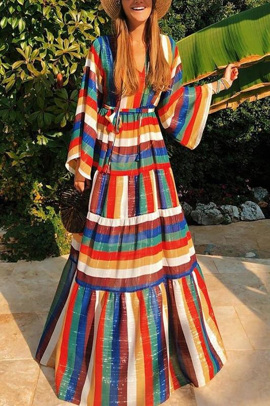 Women's Fashion V-Neck Kimono Sleeve Rainbow Striped Dress