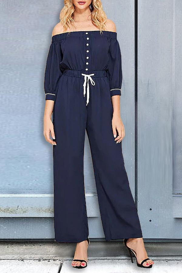 Half Sleeve Drawstring Off The Shoulder Sexy  Jumpsuits Dark Blue s