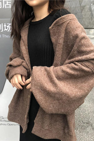 Image of Casual Pure Colour Long Sleeve Plush Knitwear  Sweaters Coffee one size