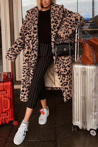 Image of Cool Chic Lapel Collar Leopard Printed Long Loose Coat Brown Leopard Print xl