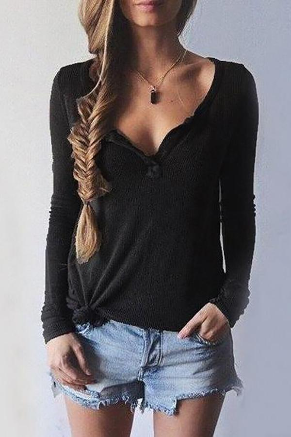Women V-Neck Long Sleeve Casual Sweater Black s