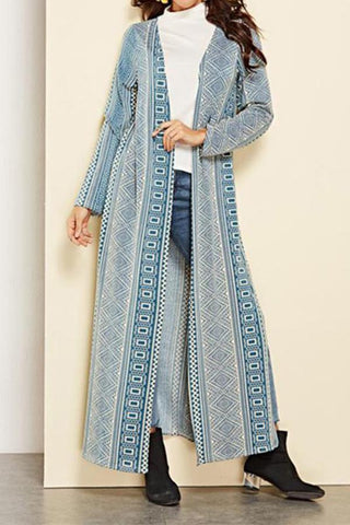 Image of Vacation Casual Fashion Slim Strip Long Sleeve Long Cardigan Blue s