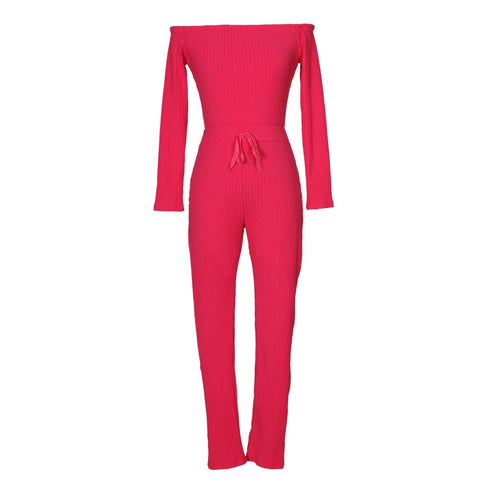 Image of Slim Long Sleeve   Jumpsuit With Elastic Thread Pink xl