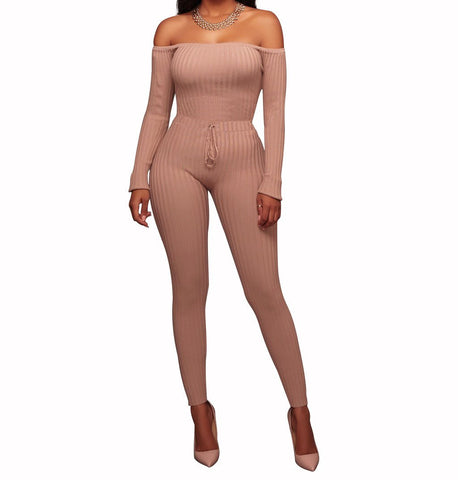 Image of Slim Long Sleeve   Jumpsuit With Elastic Thread Green xl