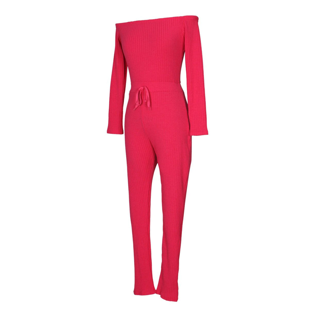 Slim Long Sleeve   Jumpsuit With Elastic Thread Pink l