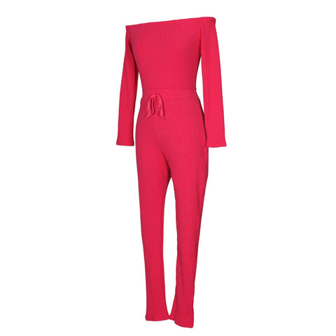 Image of Slim Long Sleeve   Jumpsuit With Elastic Thread Pink l
