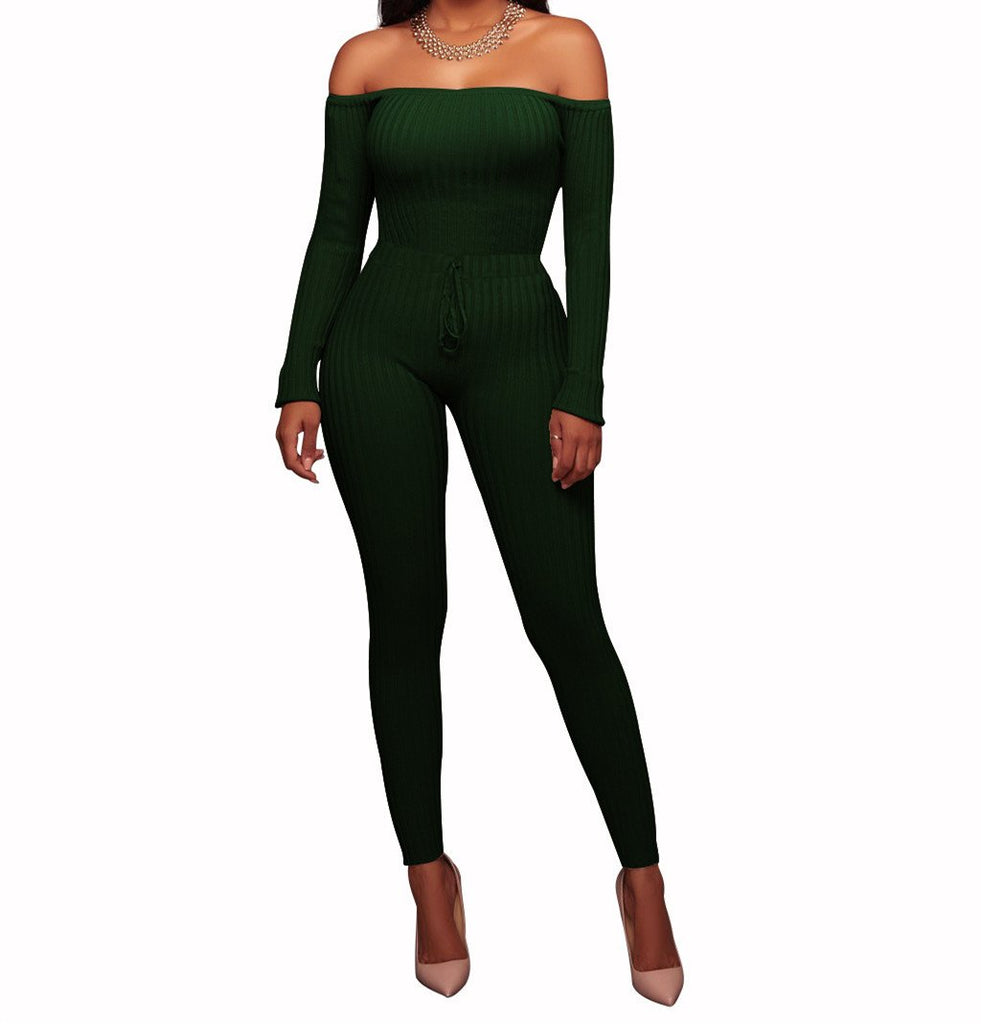 Slim Long Sleeve   Jumpsuit With Elastic Thread White m