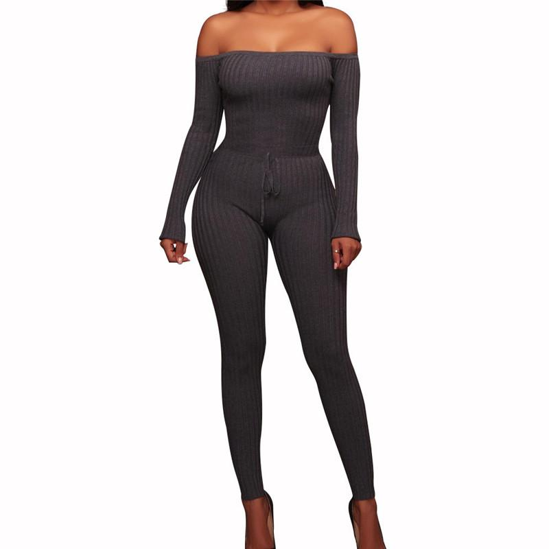 Slim Long Sleeve   Jumpsuit With Elastic Thread Gray m