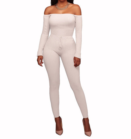 Image of Slim Long Sleeve   Jumpsuit With Elastic Thread