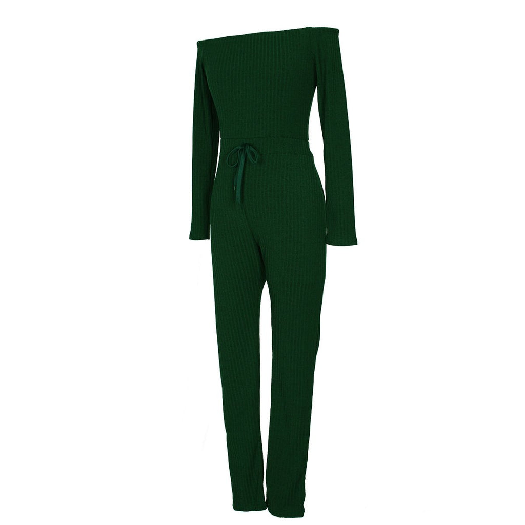 Slim Long Sleeve   Jumpsuit With Elastic Thread White xl
