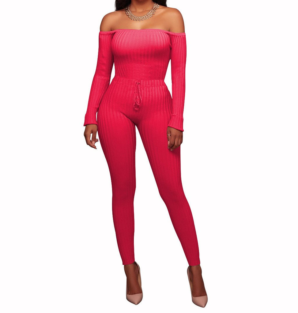 Slim Long Sleeve   Jumpsuit With Elastic Thread Pink s