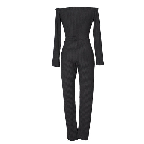 Image of Slim Long Sleeve   Jumpsuit With Elastic Thread Rose l