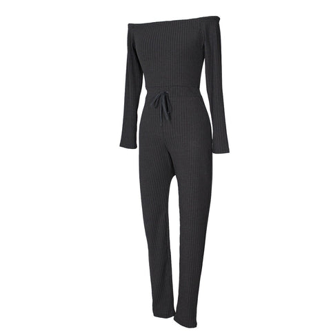 Image of Slim Long Sleeve   Jumpsuit With Elastic Thread Rose m