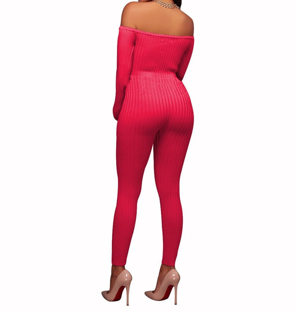 Slim Long Sleeve   Jumpsuit With Elastic Thread Pink m