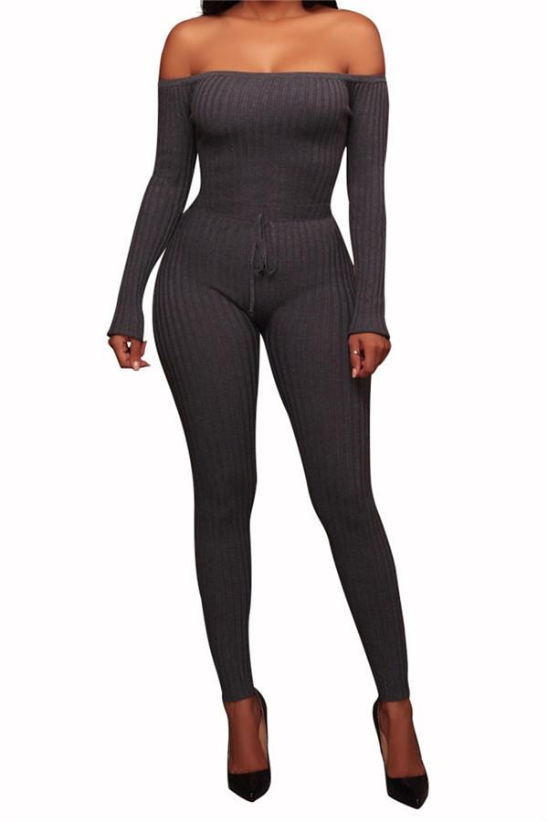 Slim Long Sleeve   Jumpsuit With Elastic Thread Gray s