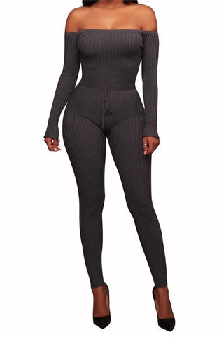 Image of Slim Long Sleeve   Jumpsuit With Elastic Thread Gray s