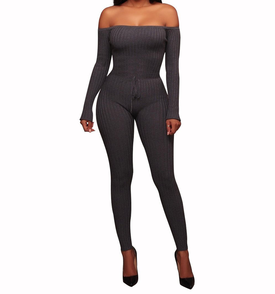 Slim Long Sleeve   Jumpsuit With Elastic Thread Gray l
