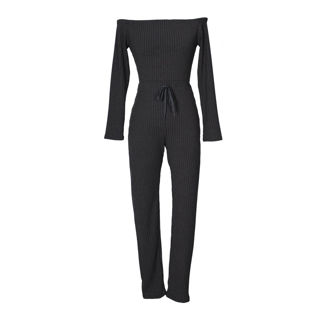 Slim Long Sleeve   Jumpsuit With Elastic Thread Rose s