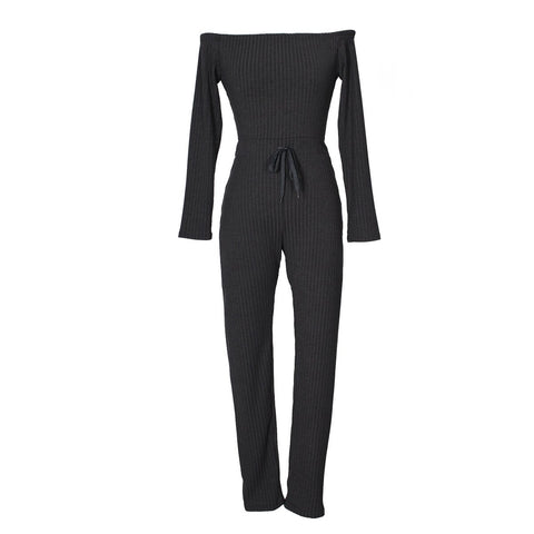 Image of Slim Long Sleeve   Jumpsuit With Elastic Thread Rose s