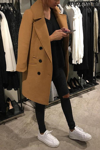 Image of Fashion Solid Color Lapel Woollen Outerwear Same As Photo s