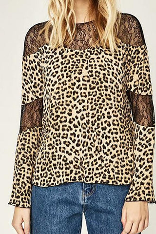Image of Sexy Chic Loose Leopard Print Lace Round Neck Long Sleeve Blouse leopard_print s