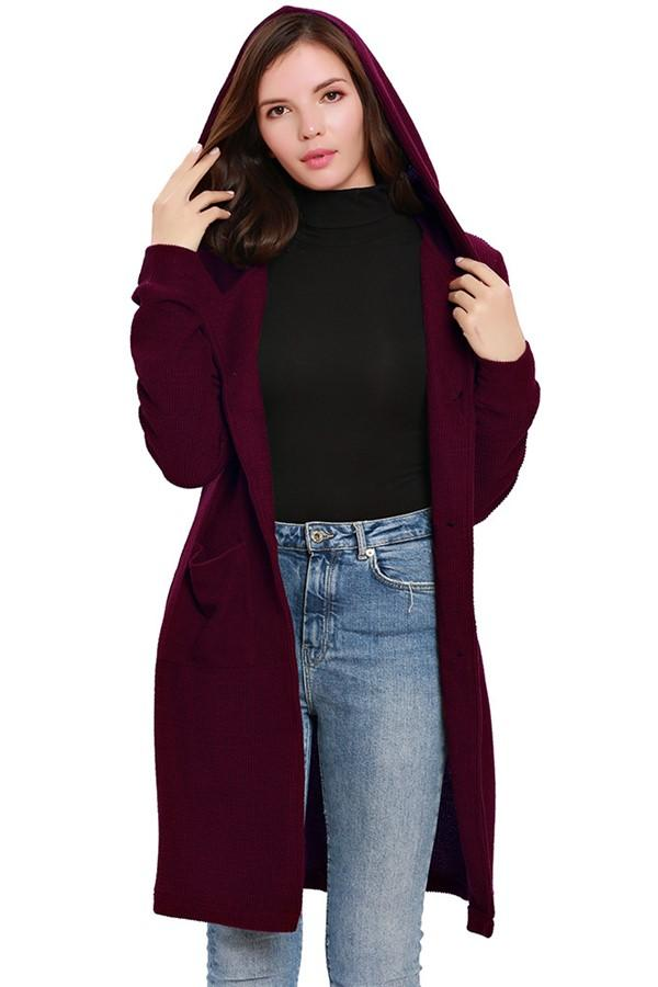Fashion Pure Color Hooded Trench Oversize Coat Claret s