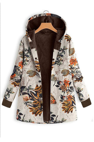 Image of Long-Sleeved Hooded   Thick Plush Retro Flower Print Large Size Hooded Jacket Red s