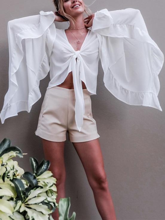 Chiffon Flared Sleeves V-neck Blouse\u0026shirt Tops WHITE S