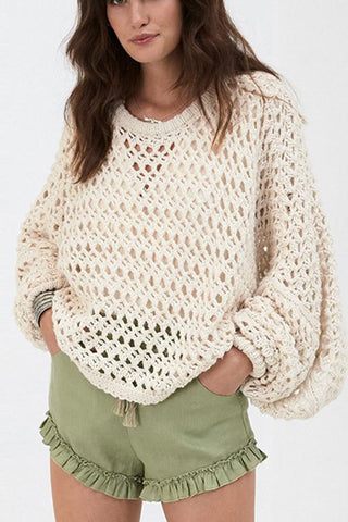 Image of Fashionable Pure Color   Hollow Lantern Sleeve Sweater Beige s
