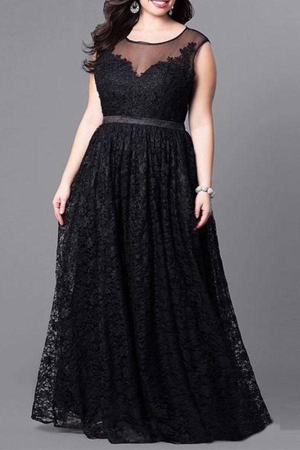 Plus-Size Sexy Pure Color High Waist Long Lace Splicing Dress Black xl