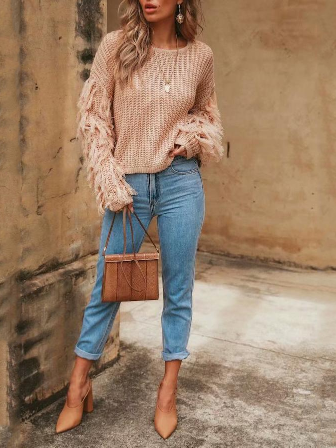 Fashion Loose Plain Fringe Sweater red m