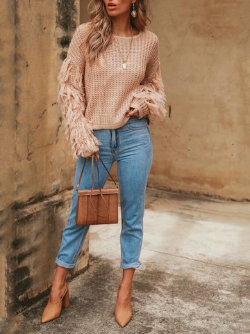 Image of Fashion Loose Plain Fringe Sweater red m