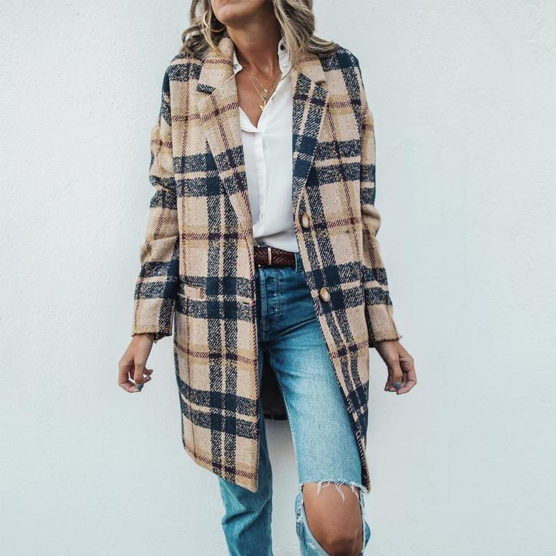 Vintage Lapel Collar Check Button Loose Woolen Long Coats