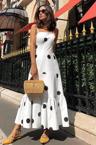 Sexy V Neck Polka Dot Printed Maxi Dress