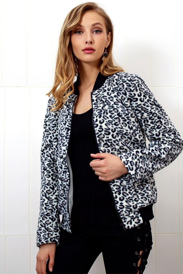 Fashion Zipper Leopard Outwear same_as_photo s