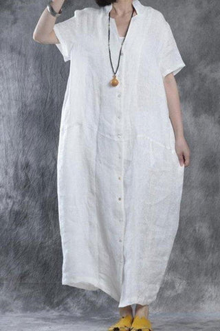 Image of Women Summer Loose Fit Retro Linen Maxi Dress white s