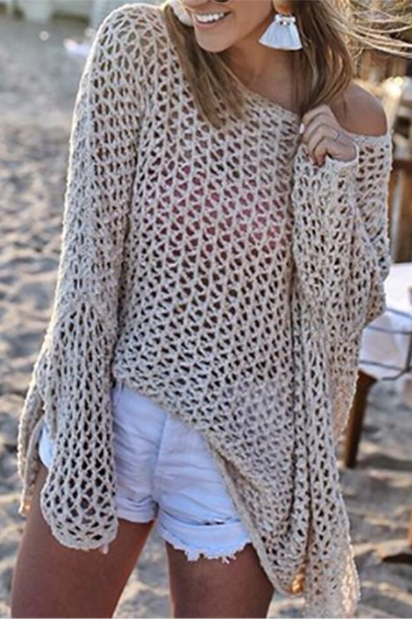 Sexy openwork bikini hand hook strap pullover blouse Apricot s